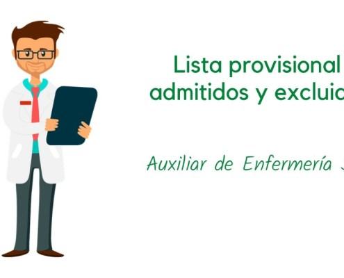 Lista provisional admitidos oposicion Auxiliar Enfermeria SCS