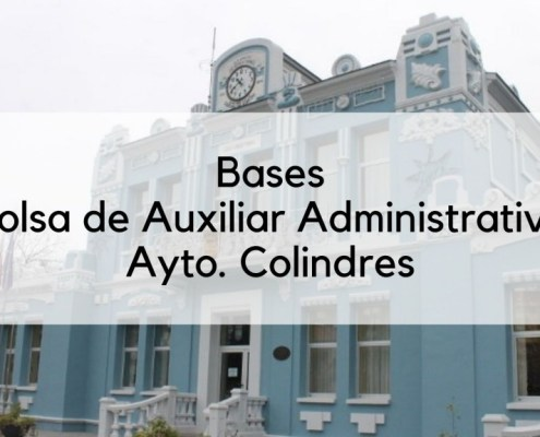 Bases oposicion auxiliar administrativo Colindres