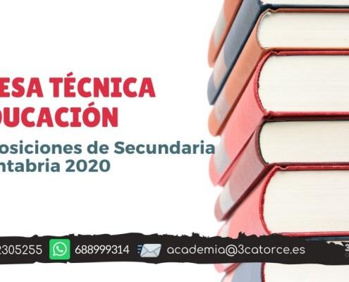 Mesa tecnica educacion oposiciones secundaria Cantabria 2020