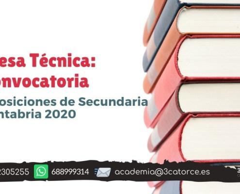 Mesa tecnica convocatoria secundaria Cantabria 2020
