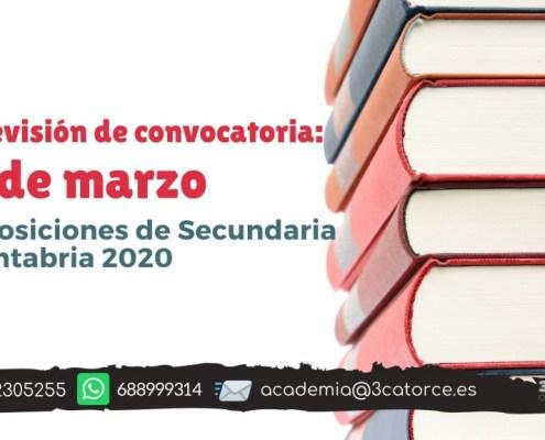 Prevision fecha convocatoria secundaria Cantabria 2020