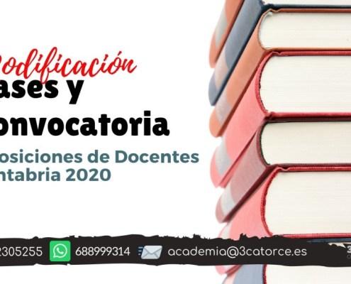 Modificacion bases y convocatoria docentes Cantabria 2020