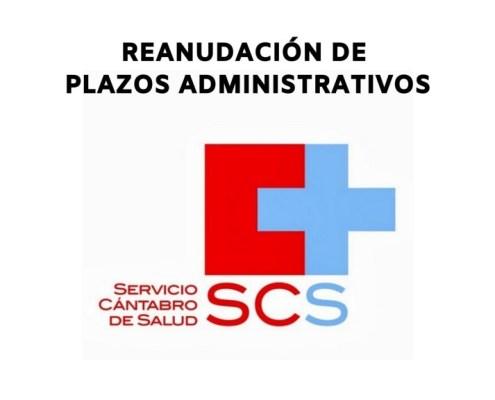 Reanudacion plazos administrativo Servicio Cantabro Salud