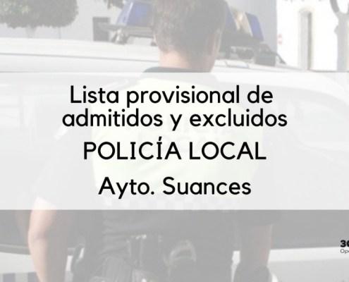 Lista provisional admitidos oposicion Policia Local Suances 2020