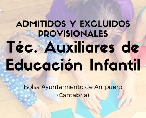 bolsa de trabajo educación infantil Cantabria Ampuero Admitidos y excluidos provisionales