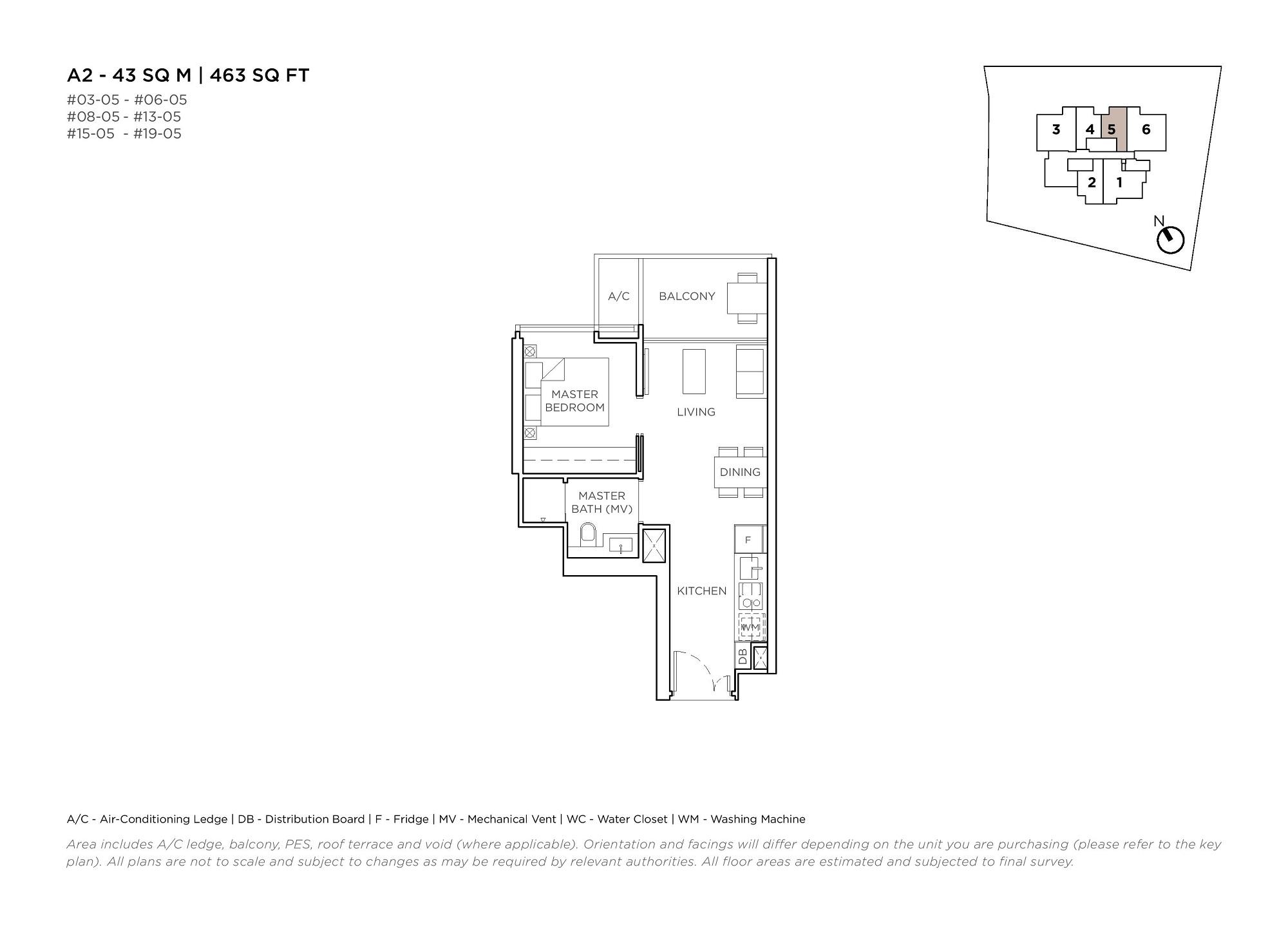 3 Cuscaden 1 Bedroom Floor Plans Type A2