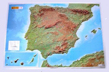Raised Relief maps of Spain as 3d map Relief Map of the Iberian Peninsula  large