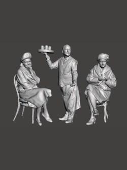 Twee vrouwen en een ober