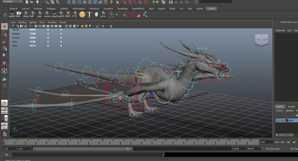 Free Dragon Rigged - Maya