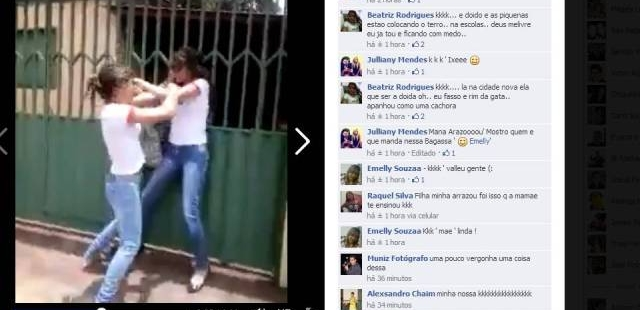 O vídeo postado no facebook recebeu alguns comentários, inclusive da suposta mãe de uma das meninas. O comentário elogiava a postura da filha