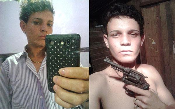 Suspeito de trafico Sarliel da Silva segurando uma arma