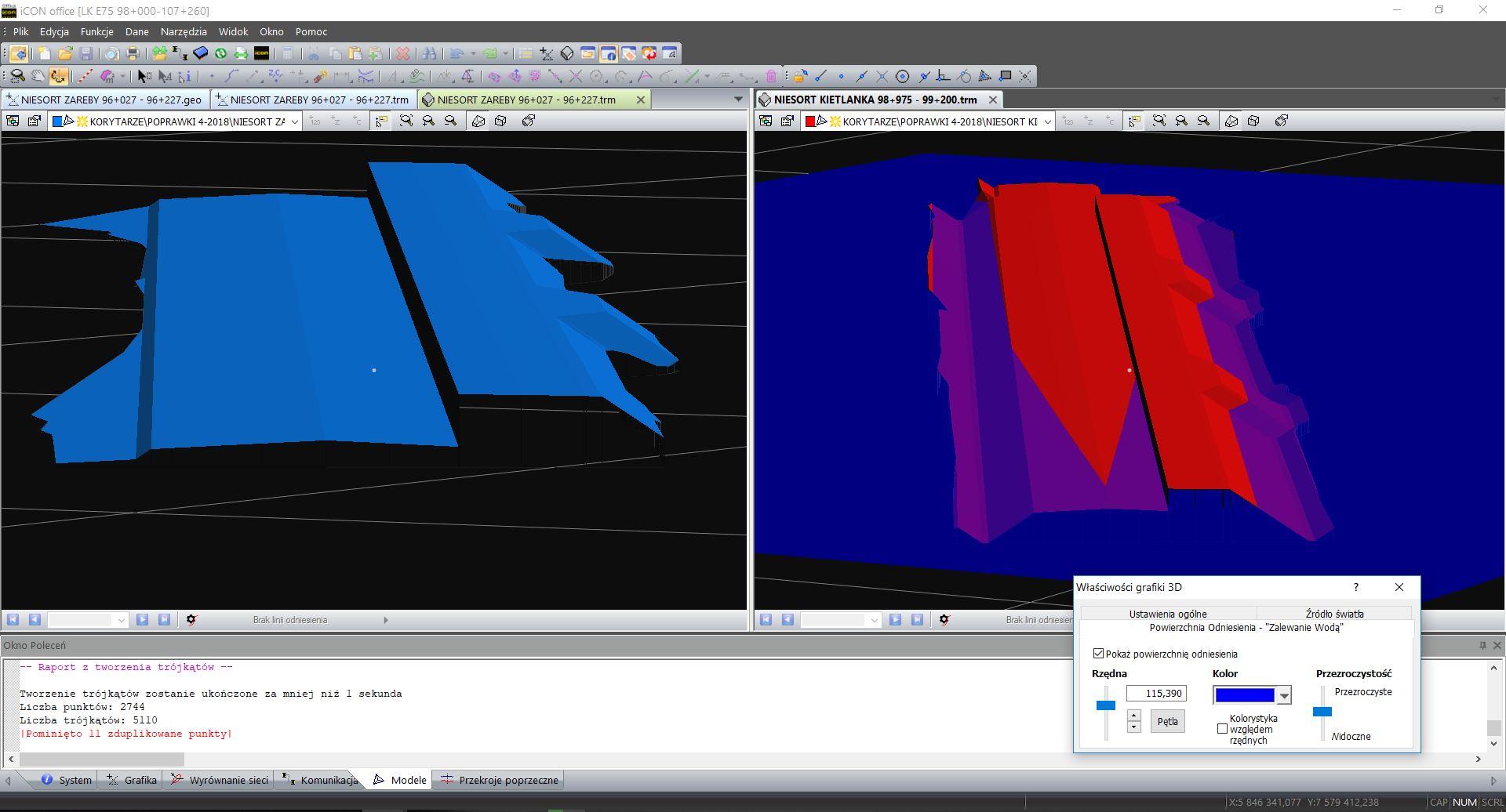 Modele peronów 3D z rowami i bez i z zalewaniem wody 2