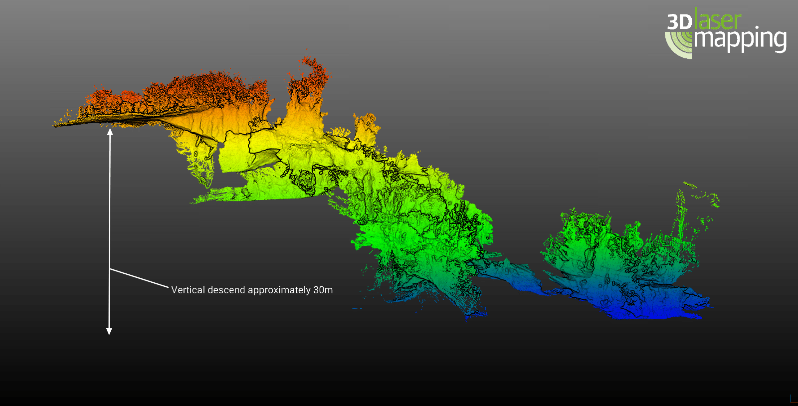 Fig. 4 – Right side view of the point cloud data from the Rising Star cave; the points are coloured by elevation height, meaning red is the highest elevation and blue is the lowest elevation.