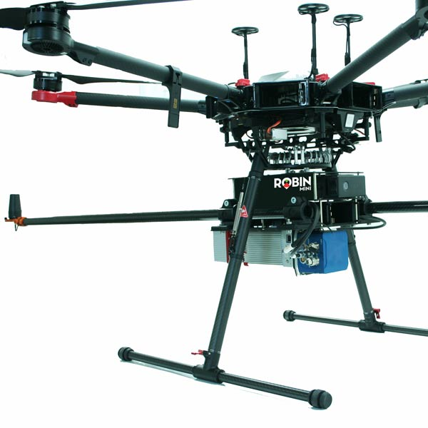 drone holding robin 3d lidar mapping scanner