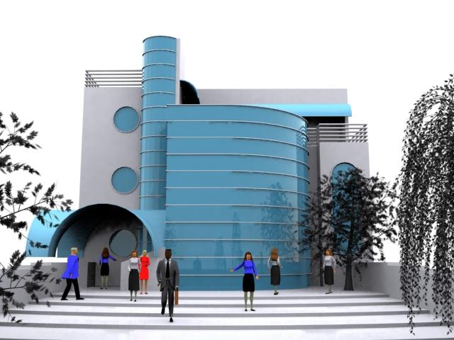 Modern Curtain Wall Construction 3D Model DownloadFree 3D