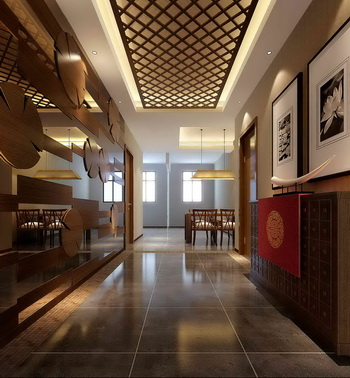 Chinese Style Entrance Hall Corridor 3D Model Download