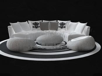 White Circular Sofa Combination 3D Model DownloadFree 3D Models Download