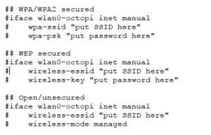 Paramètres de sécurité Octoprint dans le fichier «octopi-network.txt».