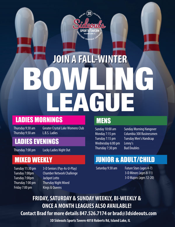 Join us for fall bowling at 3D Sideouts