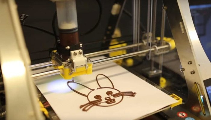 zmorph vx with thick paste extruder for printing chocolate