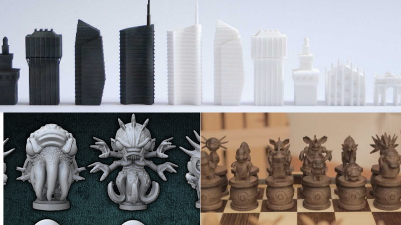 3D printed Milan, Eldtrich, and Pokémon chess pieces