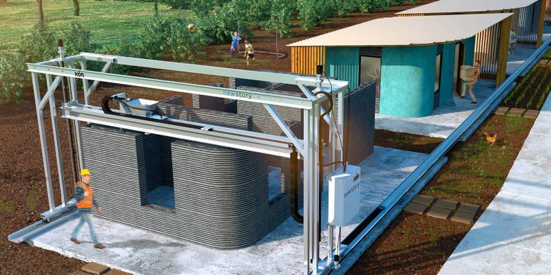 construction 3d printer printing a concrete house