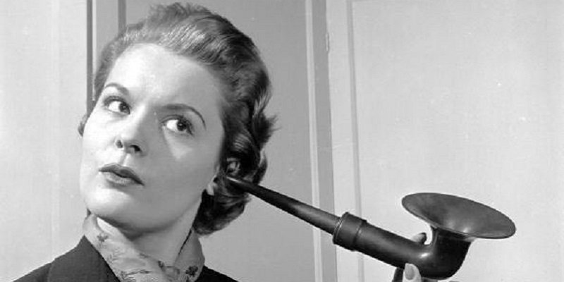 """An """"ear trumpet"""" in use before modern day hearing aids became 3d printed"""