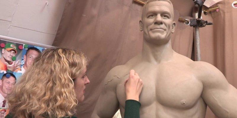 A lifesized clay sculpt of John Cena