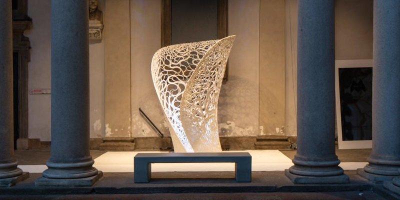 """Thallus,"" a floral 3D printed art installation."