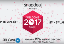 snapdeal welcome 2017 sale offer