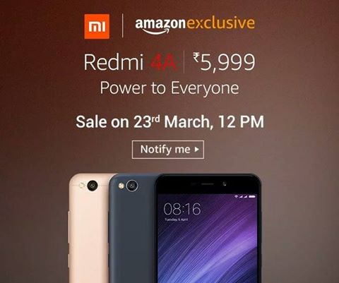 Live At 12pm Buy Xiaomi Redmi 4a At Price Just Rs 5999