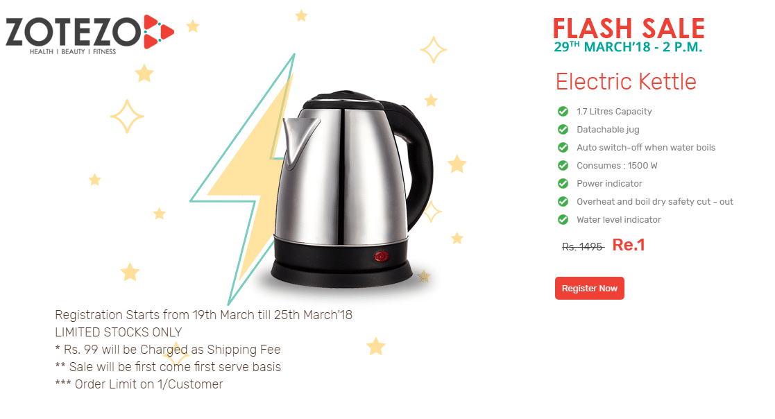 fd1aa1171 Zotezo Flash Sale will be live on 29th March 2018 at 2PM. So register now  for the Electric Kettle Sale   buy it at just Rs.1 only