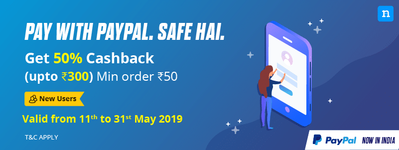 3b30aab88 Niki PayPal Offer   Get 50% Cashback Upto Rs.300 on Paying via PayPal First  Time (Gift Card