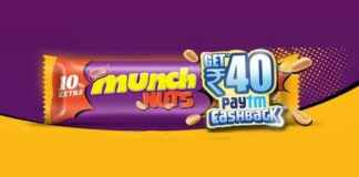paytm munch nuts offer free paytm cash