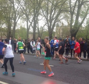Waving at friends during The London Marathon - just a few days after the Toubkal climb