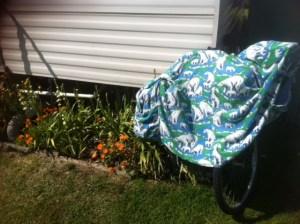 My polar bear jacket drying off at the caravan after the recent U3A swim