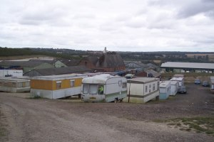 The caravans on the farm where Alin lived and worked