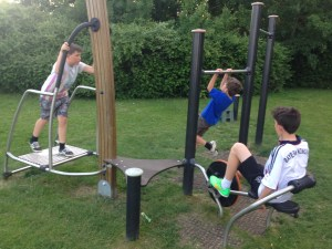 The Hopkins boys keeping fit in the outdoor gym near our house