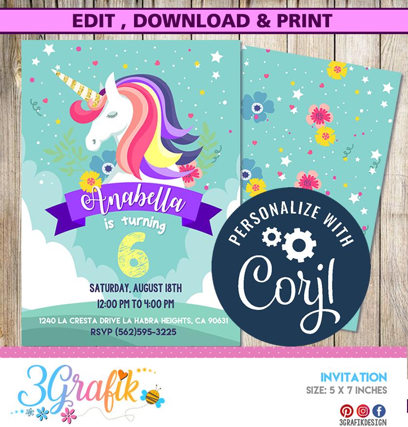 unicorn invitation template