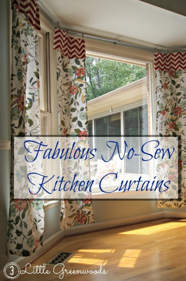 Fabulous No-Sew Kitchen Curtains by 3 Little Greenwoods