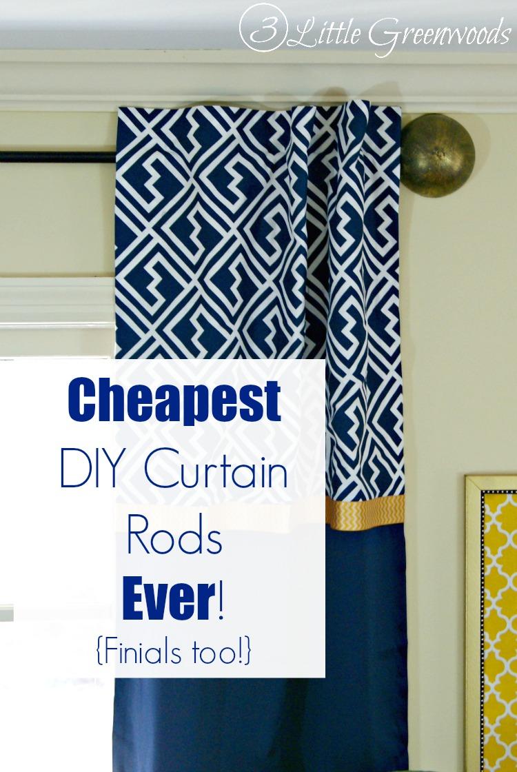 diy curtain rods ever finials too