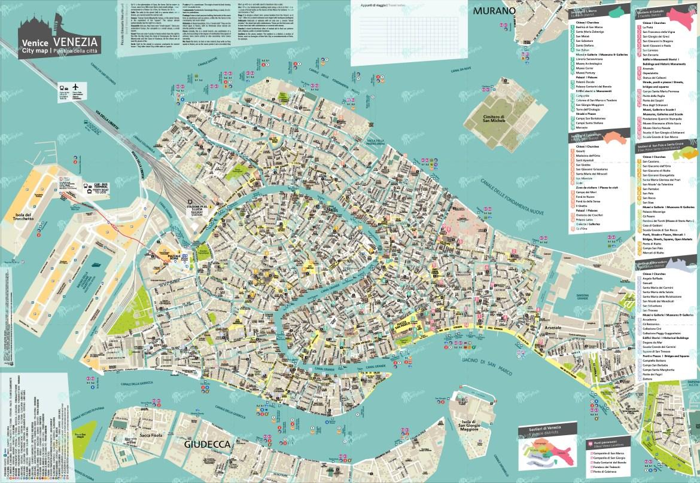 Cartina Venezia Centro Storico.Venice City Map Mappa Di Venezia Venice City Plan