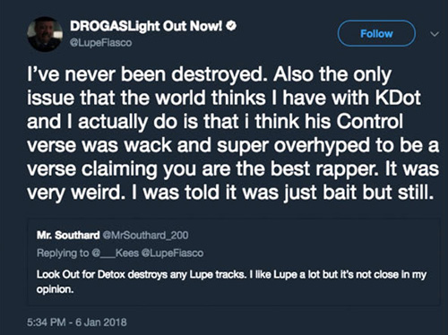 Lupe Fiasco Tweet