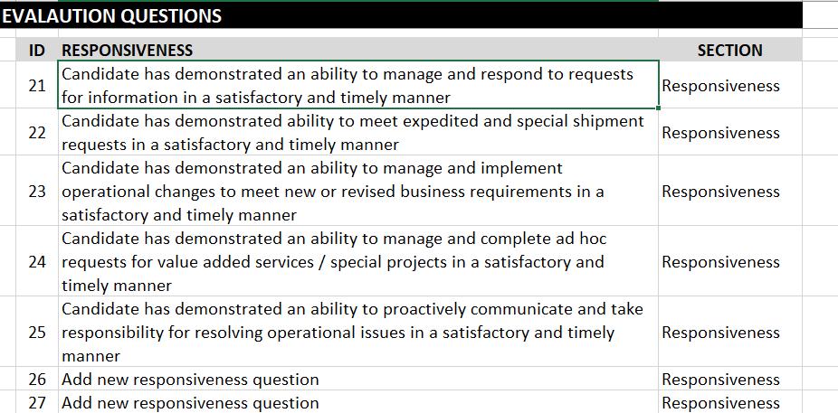 3PL Eval Matrix Questions