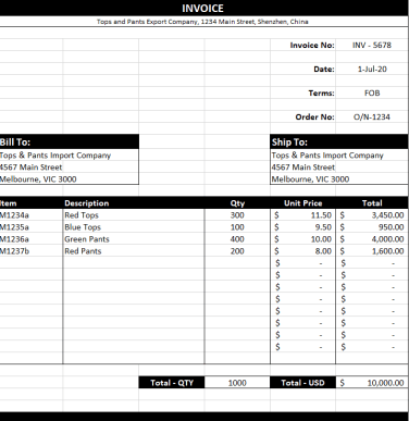 Invoice Sample for Landed Cost
