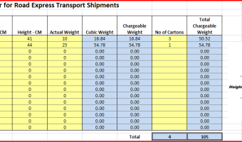 Road Express Chargeable Weight Calculator