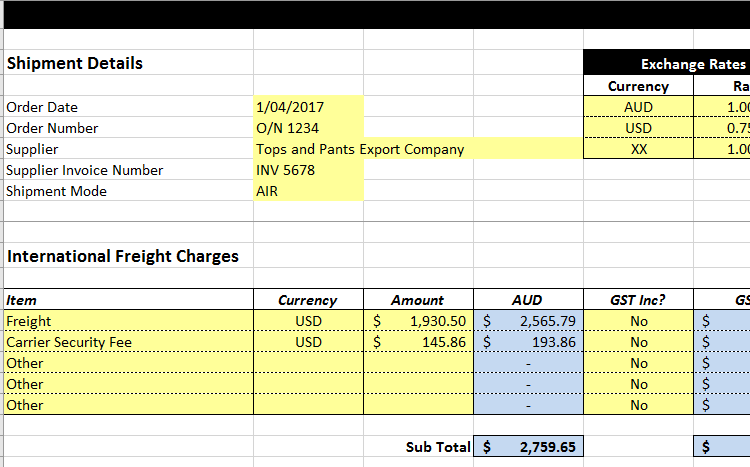 landed cost charges