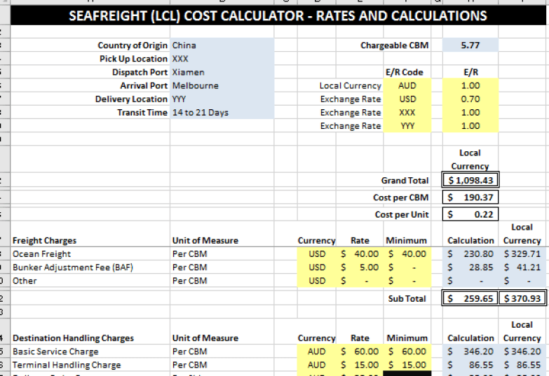 sea freight cost calculator rates and calculations