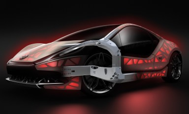 Technology example: NextGen spaceframe: Functionally integrated, bionically optimized lightweight vehicle structure manufactured flexibly: the bionically optimized spaceframe concept produced by hybrid additive manufacturing highlights a new way in which an adaptable and extremely flexible production concept can be implemented to produce bodyworks that are designed to be suitable for different load stages.