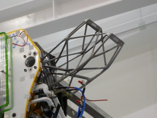 Europe's largest additively manufactured part in orbit: an antenna support for satellites made of aluminum (dimensions: x: 447 mm; y: 204.5 mm; z: 391 mm3 – excluding height of build plate) produced on an X line 1000R from Concept Laser.